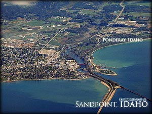 Ponderay Idaho is a beautiful area complete with much to offer, including big business names and numerous entertainment options! This aerial view displays Sandpoint Idaho and Ponderay Idaho for the natural beauty the land shares!