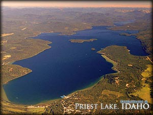 An aerial view of Priest Lake Idaho, a resort community that relishes its scenic land! Do yourself a favor and come experience Priest Lake for all its beauty and simple entertainment!
